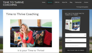 Screenshot of Lysianne Unruh's website with sign up for free stuff in sidebar