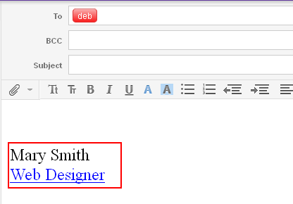 Yahoo email signature should show when you are composing the message
