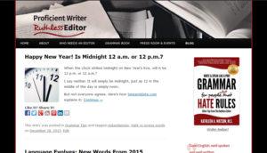 Screenshot of the header of Ruthless Editor blog