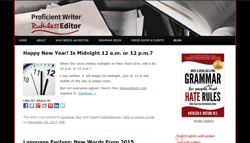 Screenshot of the header of Ruthless Editor blog