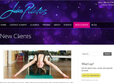 Jules Wolf's new website for Pilates Studio