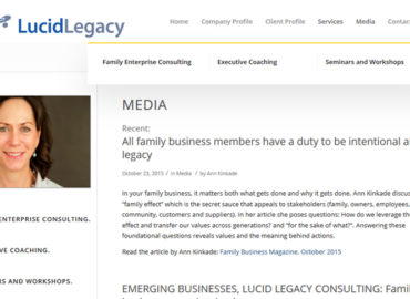 Screenshot of website for Lucid Legacy consulting - clean design with yellow contrast color
