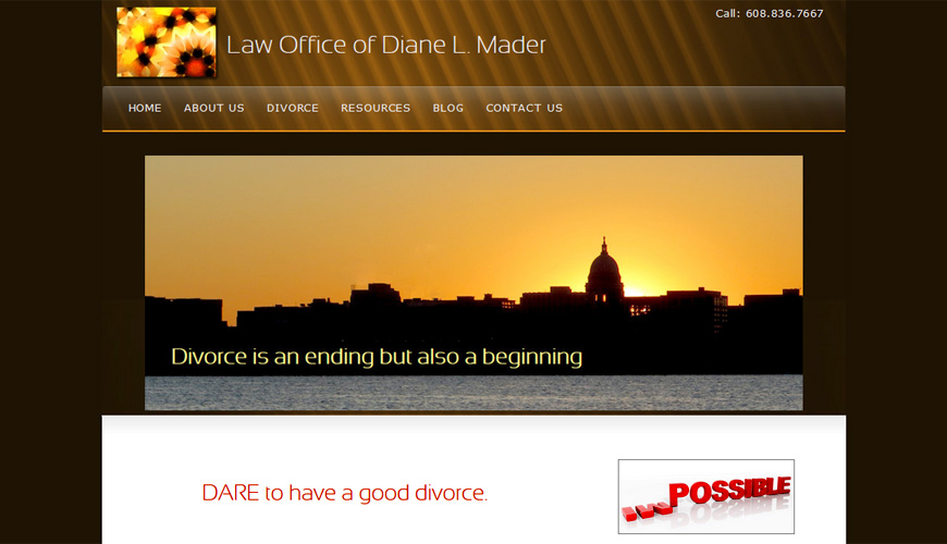 Screenshot of Maderlaw website has capitol of Madison and encouraging words