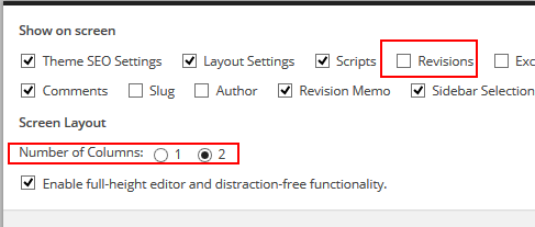 screenshot of opened screen options tab. boxes can be checked to show or hide edit boxes in wordpress