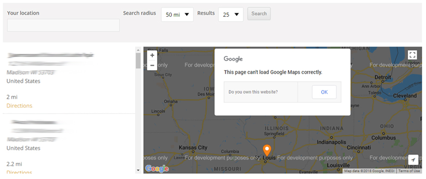 WP Store Locator plugin – hide broken Google map on giving directions, travel directions, driving directions, compass directions, traffic directions, scale directions, get directions, mapquest directions,