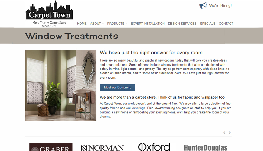 Screenshot of WordPress website for flooring store in Wisconsin