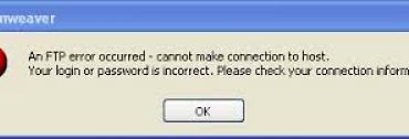 Dreamweaver ftp error fix