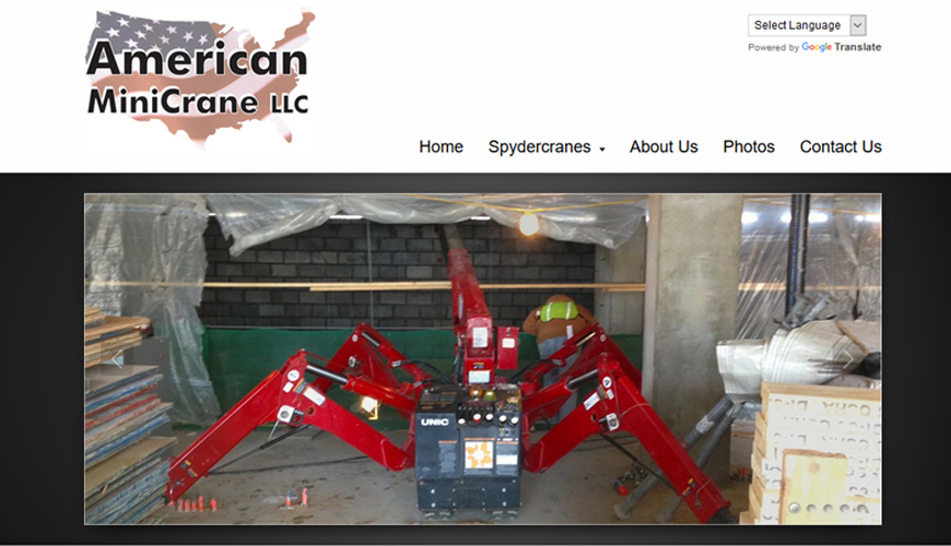 Website for spider crane rental in Chicago