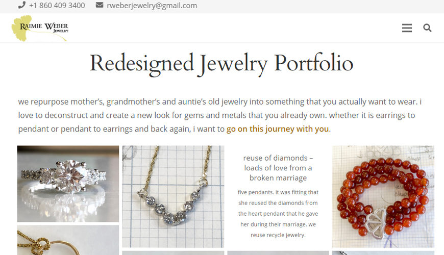Portfolio website - jewelry redesign screenshot