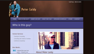 Screenshot of Peter Leidy's website - Madison personality and keynote speaker