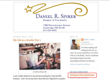 screenshot of Spirer Jewelry blogspot with link to websites by Deb Vandenbroucke