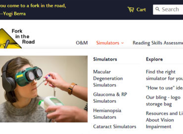 low vision simulators screenshot of website menu and site header- Move to Shopify