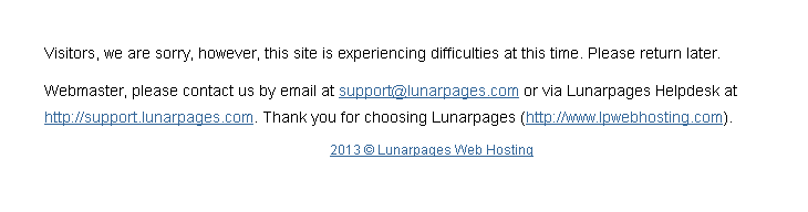What you see if you don't pay your LunarPages hosting bill