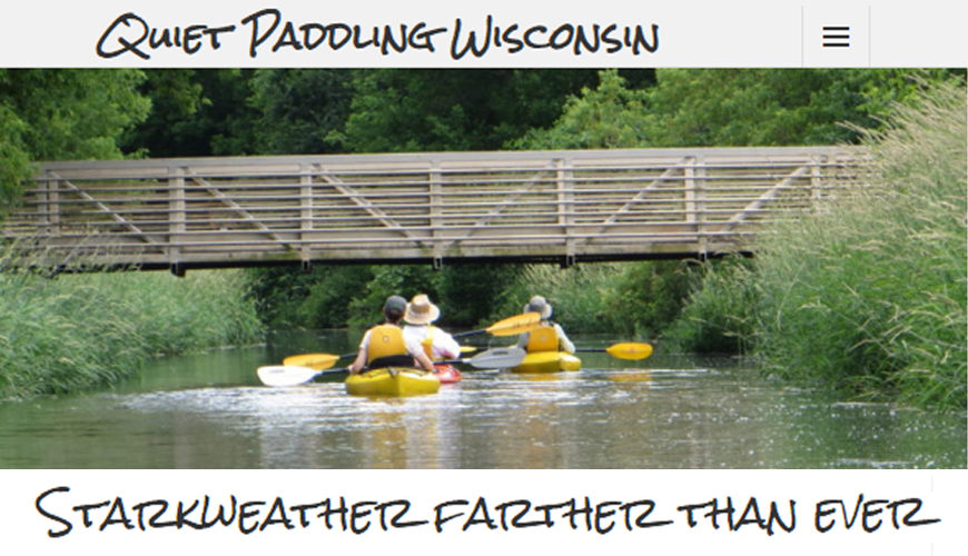 Screenshot of paddling website - 2 kayakers