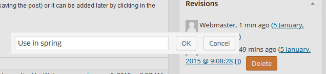 click the brackets to get revision memo edit window