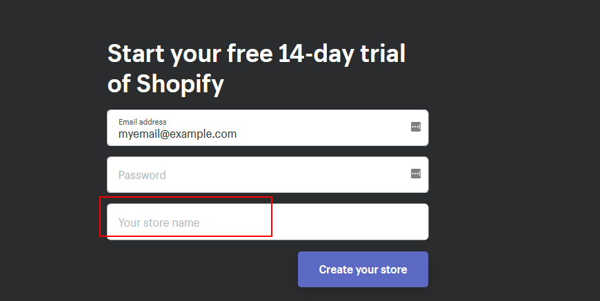 Screenshot: first screen in creating shopify store asks for store name which is misleading