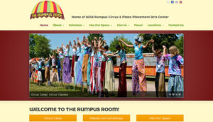 Screenshot of the awning for the Rumpus Room which houses Wild Rumpus Circus, Mazo arts and more