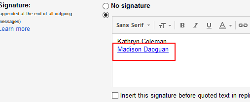 How the link should look before you save it Gmail setting signature