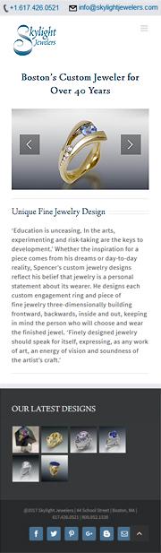 Screenshot of Skylight jeweler's home page - Avada theme