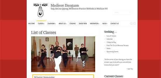 Website for Tai Chi school in Madison