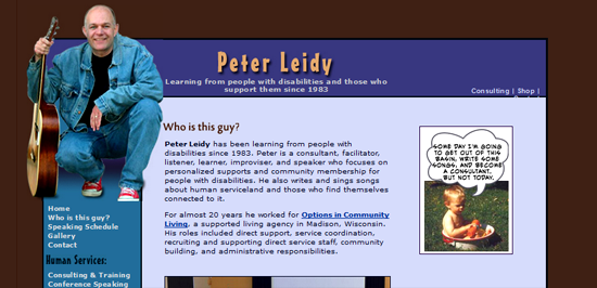 Screenshot of Peter Leidy's html website which was redesigned into Wordpress in 2014