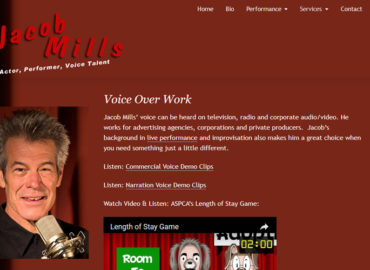 Jacob Mills - screenshot of his voice over page
