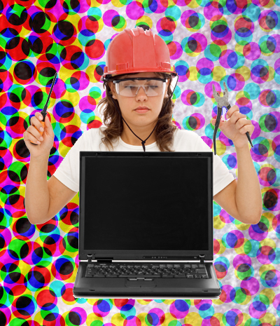 woman with laptop in construction hat, safety goggles and tools in hand - funny