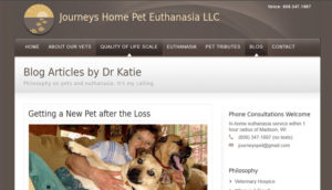 Screenshot of vet website, blog page with woman and dogs on couch