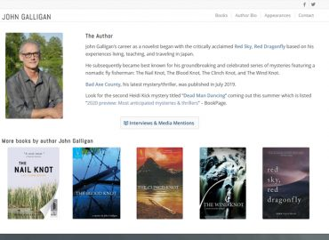 Screenshot of John Galligan's author website