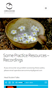 Screenshot of mobile page - audio recordings
