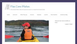 Screenshot of website for home Pilates studio