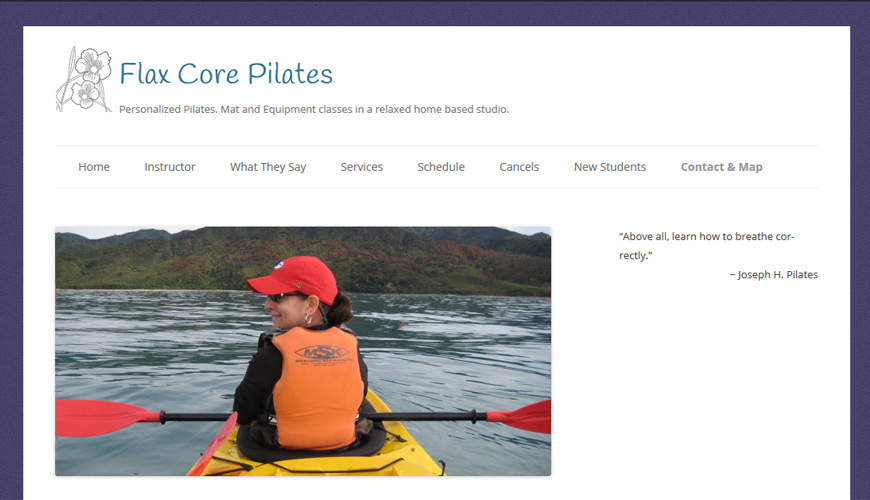 Screenshot of website for home Pilates studio