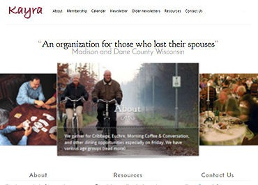 Screenshot of website header Kayra Group - social group for widows and widowers in Dane County