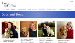 Dogs on Call screenshot - website for therapy dog website