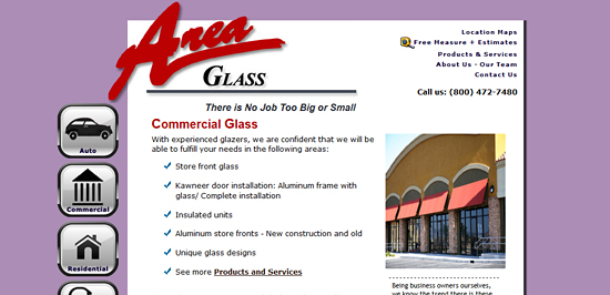 Area Glass Wisconsin chose debwork for this html website