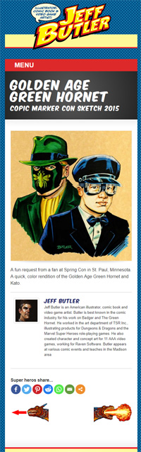 Screenshot of portfolio page - one of the green hornet paintings by Jeff Butler