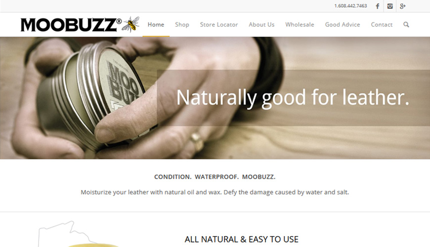 screenshot of Moobuzz home page - large image with transparent overlay