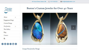 screenshot of jewelry site - shows portfolio with two opal pndants