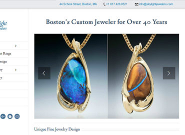 screenshot of jewelry site - shows portfolio with two opal pndants