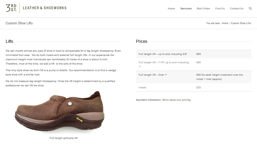 screenshot of a cobbler's website, 2-column page has shoe on left, price table on right